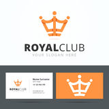Royal club logo and business card template. Royalty Free Stock Images