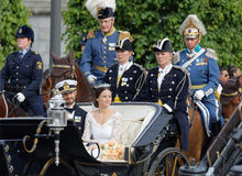 The royal coach carrying the swedish Prince Carl-Philip Bernadot Royalty Free Stock Photography