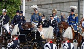 The royal coach carrying the swedish Prince Carl-Philip Bernadot Royalty Free Stock Photos