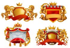 Royal coat of arms. King and kingdom. Vector emblem set. Royal coat of arms. King and kingdom. 3d vector emblem set royalty free illustration