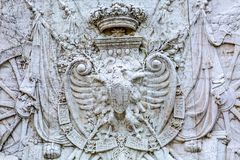 Royal Coat of Arms Victor Emanuele Monument Rome Italy. Royal Coalt of Arms Victor Emanuele Monument Rome Italy.  Monument created in 1911 to the first king of a Royalty Free Stock Image
