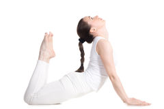 woman exercise bend yoga  cobra pose isolated royalty