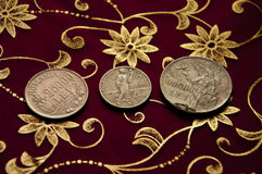 Royal coins from Romania. Silver royal coins from Romania on a beautiful background Stock Images