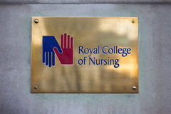 Royal College of Nursing in London. LONDON, UK - JANUARY 19TH 2016: The plaque at the entrance to the Royal College of Nursing on Cavendish Square in London, on stock photography