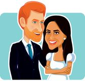 Meghan Markle and Prince Harry Vector Editorial Caricature. Royal couple love story wedding ceremony historical moment cartoon illustration