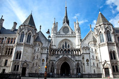 Royal Courts of Justice in London. Historical building and entrance of Royal Courts of Justice in Londong England Royalty Free Stock Photography