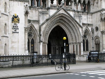 Royal Courts of Justice, London. Entrance to Royal Courts of Justice, Victorian Gothic style law courts Stock Image