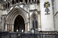 Royal Courts of Justice. London, England - Sept 09, 2015: Exterior facade of the Royal Courts of Justice in London, England showing the coat of arms of the Stock Photo