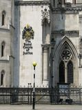 The Royal Courts of Justice in London. Historical building and entrance of Royal Courts of Justice in Londong England with it's name on the wall Stock Photos