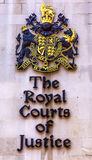 Royal Courts of Justice Old City London England. Royal Courts of Justice Court of Arms Symbol Old City London England Royalty Free Stock Photos
