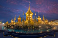 Royal Cremation Exhibition,Sanam Luang,Bangkok,Thailand on November19,2017: Royal Crematorium for the Royal Cremation of His Majes royalty free stock image