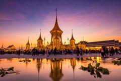 Royal Cremation of King Bhumibol at dusk. BANGKOK, THAILAND - DECEMBER 22, 2017: Unidentified Thai poeple at The Royal Cremation of His Majesty ,The Late King Royalty Free Stock Images