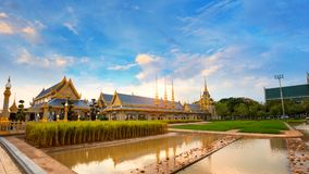 The Royal Crematorium of His Majesty King Bhumibol Adulyadej stands tall in Sanam Luang in front of the Grand Palace Stock Image