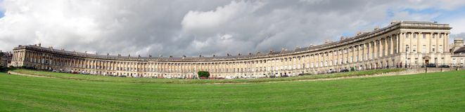 Royal Crescent, Bath. A panorama of Royal Crescent, Bath showing typical Georgian architecture Royalty Free Stock Photo
