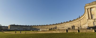 The Royal Crescent in Bath on a cold Spring Day. The Grade 1 Listed Royal Crescent in the World Heritage city of Bath, England Royalty Free Stock Photos