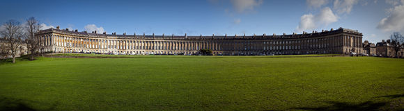 Royal Crescent, Bath, England. Panorama of Royal Crescent, Bath, Somerset, England showing typical Georgian architecture Stock Photo