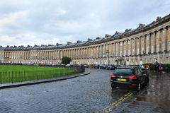 The Royal Crescent in Bath England. General view of the famous Royal Crescent designed by architect John Wood the Younger in late 18th century on October 4, 2012 Royalty Free Stock Image