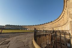 The Royal Crescent in Bath. The Grade 1 Listed Royal Crescent in the World Heritage city of Bath, England Royalty Free Stock Images