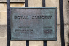 Royal Crescent in Bath. A plaque at the Royal Crescent in the city of Bath, Somerset Stock Photos