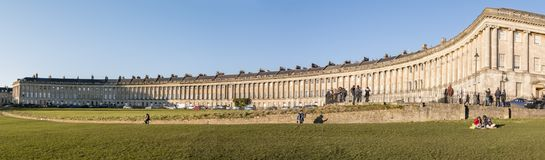 The Royal Crescent in Bath, Somerset. The Grade 1 Listed Royal Crescent in the World Heritage city of Bath, England Stock Photography