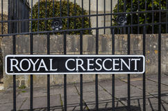 Royal Crescent in Bath. The traditional street sign for Royal Crescent in the city of Bath, Somerset Stock Images