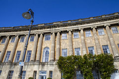 Royal Crescent in Bath. A view of the magnificent Georgian architecture of the Royal Crescent in Bath, Somerset Stock Photos