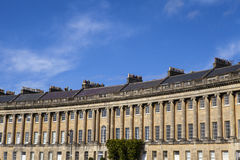 Royal Crescent in Bath. A view of the magnificent Georgian architecture of the Royal Crescent in Bath, Somerset Royalty Free Stock Photography