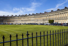 Royal Crescent in Bath. A view of the stunning Royal Crescent in Bath, Somerset Stock Images