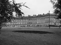 Royal Crescent row of terraced houses in Bath in black and white Stock Image