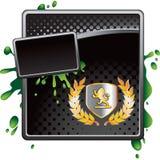 Royal crest on black halftone advertisement. Royal crest with leaves on black halftone grungy banner template Stock Photos