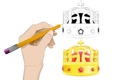 Royal crown as isolated human hand drawing vector Stock Images
