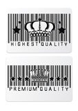 Royal crown barcode shopping  labels Royalty Free Stock Photos