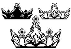 Royal crown. Crown black and white design - luxury royal jewelry set - vector collection royalty free illustration