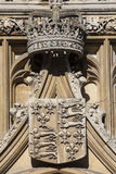 Royal Crown and Coat of Arms at King's College in Cambridge Royalty Free Stock Photo