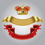 Royal crown with gold and red ribbons Stock Photography