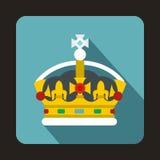 Royal crown icon, flat style Royalty Free Stock Photo