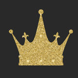 Royal crown icon with glitter effect, isolated on white background. Outline icon of royal crown. Symbols of power Stock Images