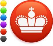 Royal Crown Icon On Round Internet Button Royalty Free Stock Photos