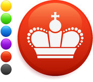 Royal crown icon on round internet button Royalty Free Stock Photos