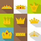 Royal crown icon set, flat style Stock Image