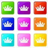 Royal crown icons 9 set. Royal crown icons of 9 color set isolated vector illustration Royalty Free Stock Photography