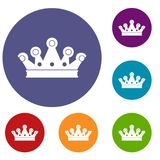 Royal crown icons set. In flat circle red, blue and green color for web Stock Photo