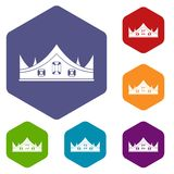 Royal crown icons set hexagon Royalty Free Stock Images