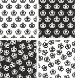 Royal Crown King & Queen Aligned & Random Seamless Pattern Set. This image is a illustration and can be scaled to any size without loss of resolution Royalty Free Stock Images