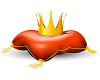 Royal crown on the pillow. With tassels Royalty Free Stock Image