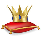 Royal crown on the pillow with tassels. Gold royal crown on the red pillow with tassels Royalty Free Illustration