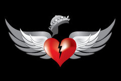 Royal Crown Red Broken Heart Wings 1 Stock Images