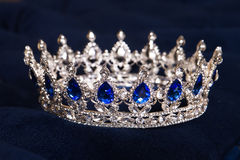 Royal crown with sapphires, luxury retro style. Royalty Free Stock Image