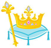 Royal Crown and Scepter/eps. Illustration of a royal crown and scepter fit for queen or princess on a blue pillow Royalty Free Stock Photos