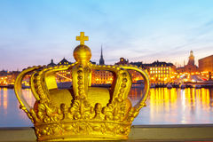 Royal crown and Stockholm cityscape Royalty Free Stock Image